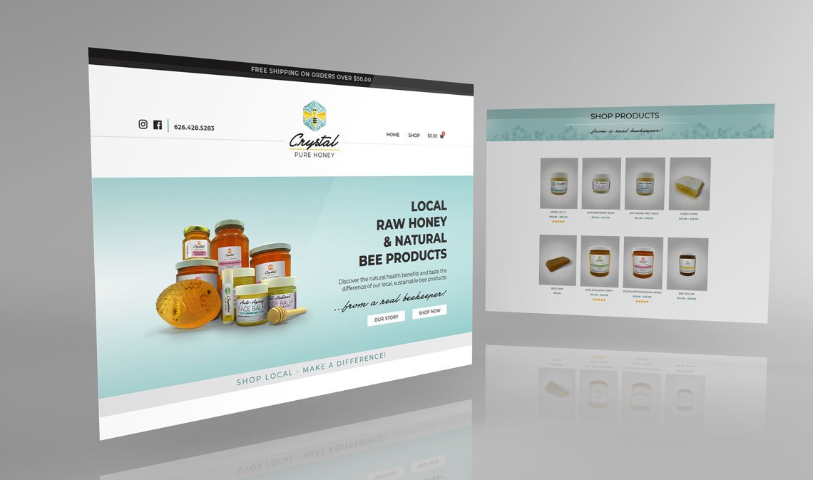 Crystal Pure Honey Website Mock - Up   Temecula, CA